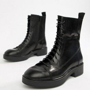 Women's Diane Lace Up Black Leather Military Boots